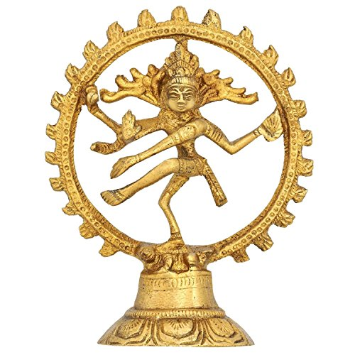 Dancing God Shiva Natraj Statue Painted – Handcrafted Brass Figurine Gift Idea – 6.5×5.5×1.5 Inches 51UAaE2RtCL