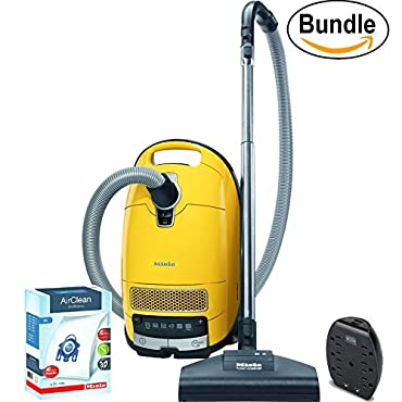 Miele Complete C3 Calima Canister Vacuum, Canary Yellow ReVIVE Rapid Dual USB 6 Outlet Wall AC Adapter, & 10123210 AirClean 3D Efficiency Dust Bag, Type GN, 4 Bags & 2 Filters (Bundle)