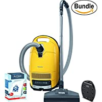 New Miele Complete C3 Calima Canister Vacuum Cleaner , Canary Yellow - ReVIVE Rapid Dual USB 6 Outlet Wall AC Adapter, & 10123210 AirClean 3D Efficiency Dust Bag, Type GN, 4 Bags & 2 Filters (Bundle)