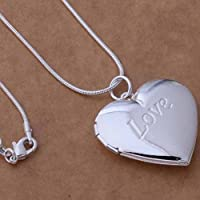 925 Sterling Silver Plated Heart LOCKET Photo Charm Pendant Necklace Fashion