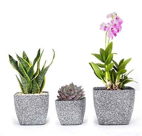 Rotot Marbled Square Planters, Plastic Modern Decorative Flower Plant Pots Set of 3 (Black & White) ()