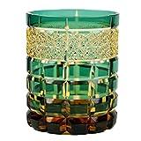 Crystal Double Old Fashioned Glass Edo Kiriko Cut Glass Amber Gradatione - Green [Japanese Crafts Sakura]