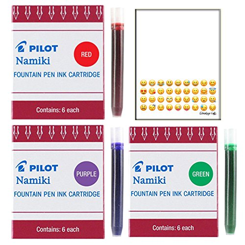 Pilot Bundle of Namiki IC50 Fountain Pen Ink Cartridge Purple Green Red(69002-69003-69004) PLUS Custom printed EMOJI NOTEPAD