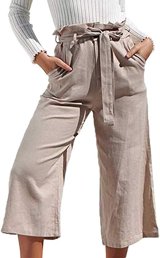 JOFOW Pants Womens High Waist Solid Loose Long Casual Trousers