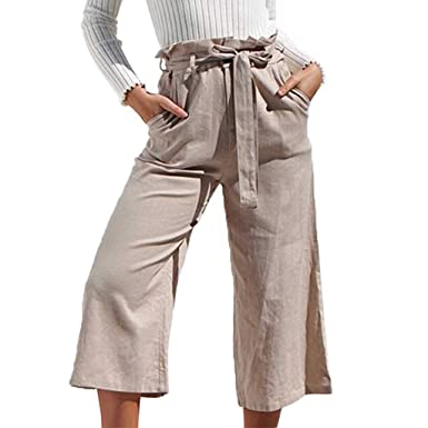 08dc567bf299c2 Hemlock Women High Waist Wide Leg Pants Belt Tie Knot Pants Ladies Work  Long Trousers with