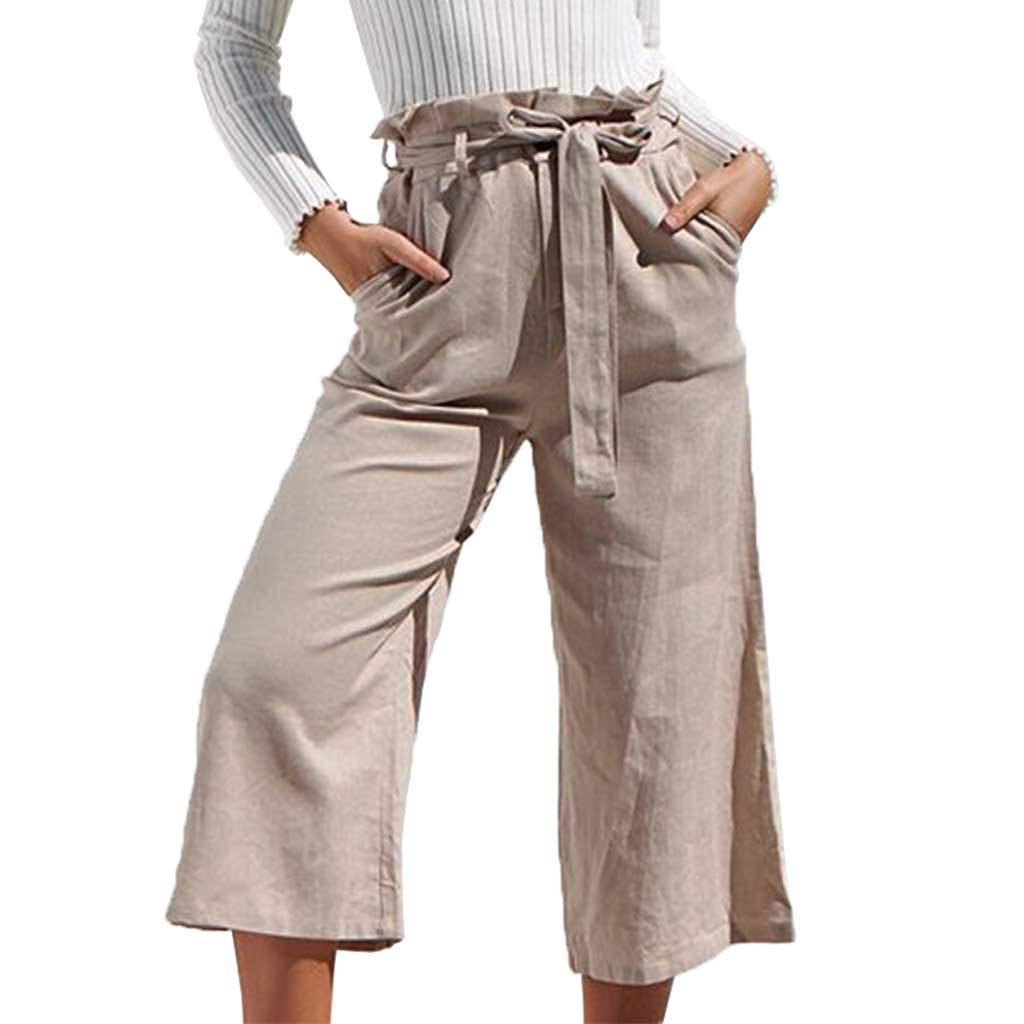 Pervobs Women Solid Casual Drawstring Belt High Waisted Loose Pockets Wide Leg Pants Yoga Trousers(XL, Beige)