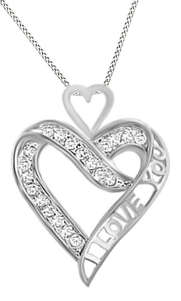White Natural Diamond ''I Love You'' Heart Pendant In 10K White Gold (1/7 Cttw)