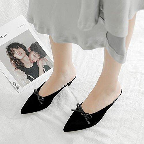 ante Negro Negro Color Damas cerradas de bajo Tamaño de Zapatillas Piel tacón para mujer CJC UK3 EU35 Sandalias qfOxw11