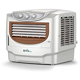 Havells Brina Plus 50 Litres Window Air Cooler with Ice Chamber, Dust Free and Insect Free (White, Brown)