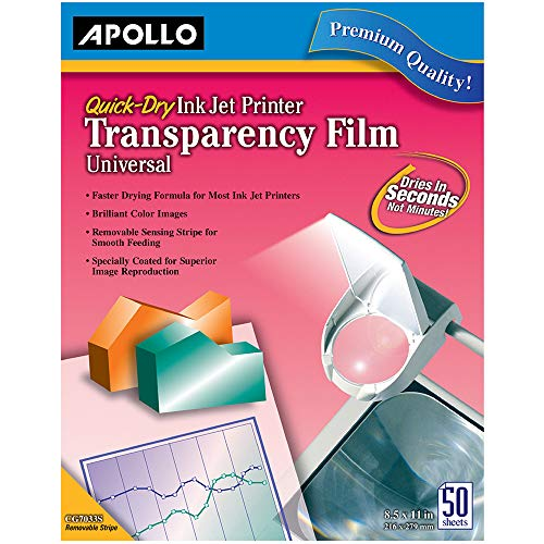 Apollo Transparency Film for Inkjet Printers, Universal, Quick Dry, 50 Sheets/Pack (VCG7033S) Apollo Laser Printer Transparency Film