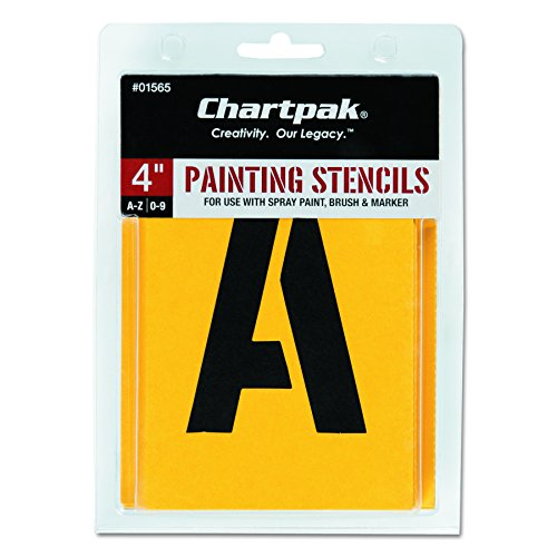 Spray Painting Stencils - Chartpak Letter and Number Painting Stencils, A-Z and 0-9, 4 Inches H, 35 per Pack (01565)