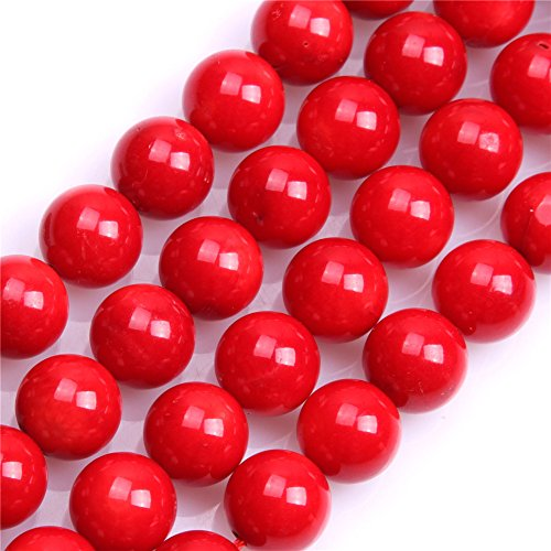 (Sweet Happy Girls 11mm Round Red Coral Beads Strand 15 Inch Jewelry Making Beads)