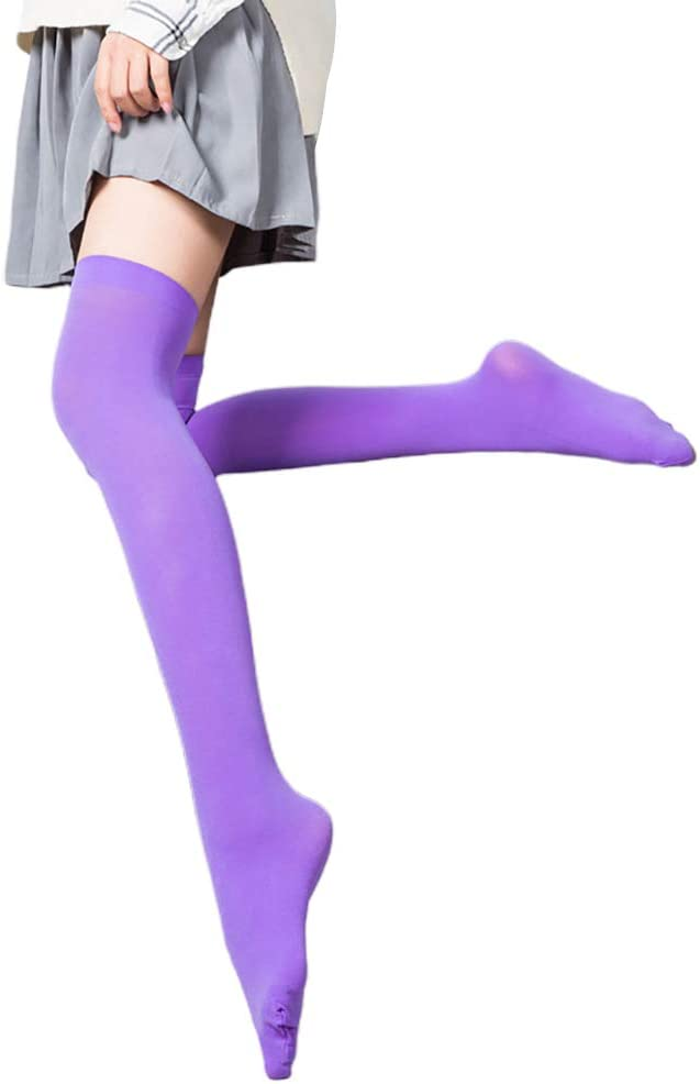 Kids Girls Cotton Striped//Solid Knee High Socks Party Show Dance Dress Stockings