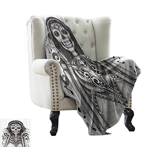 RenteriaDecor Day of The Dead Decor,Best Blankets Dia de Los Muertos Skull Girl with Headphones Music Lover Print 80