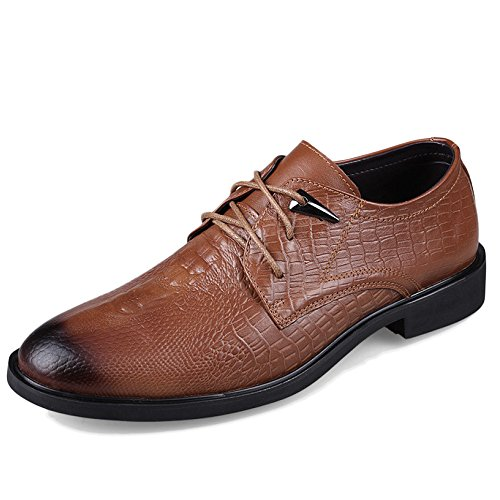 Hommes En Cuir Véritable Derby Classique Occasionnel Parti Robe Uniforme Chaussures Pointu Toe Lace Up Oxford Chaussures De Mariage Plus La Taille Lightbrown CgybbE4uh