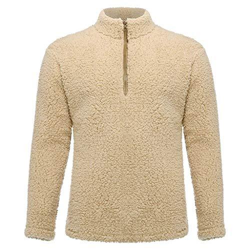 Sunhusing Men's Popular Solid Color Fleece Pullover Tops Autumn New Comfortable Long-Sleeve Sweatshirt Khaki