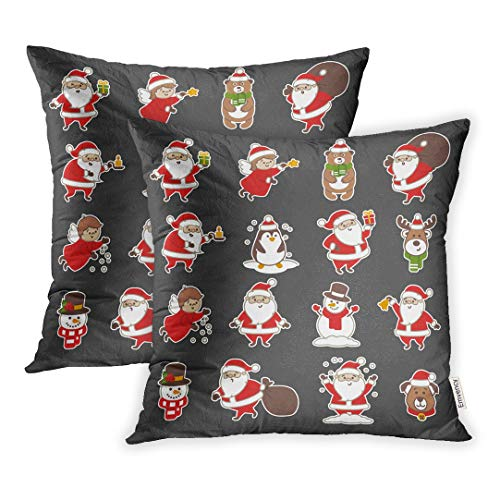 Emvency Set of 2 Throw Pillow Covers Decorative Cases Angel of Christmas Santa Claus Bear Bell Berry 18x18 Inch Cover Cushion Pillowcase Square Case Print ()