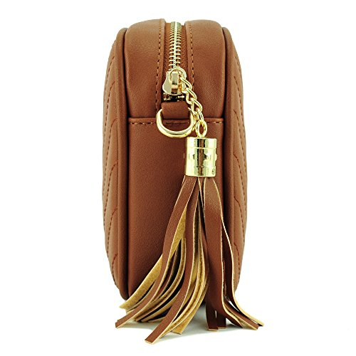 With Metal And Simple Chain Bag Crossbody Strap Shoulder Brown Top Tassel Zipper AwxqqBftp
