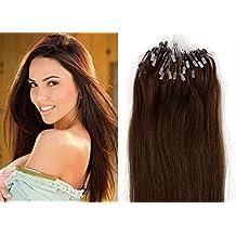 20 inch Easy Loop Micro Rings Beads Tipped Remy Human Hair Extensions Straight color 4-dark brown/medium dark brown chocolate brown /50g/100s