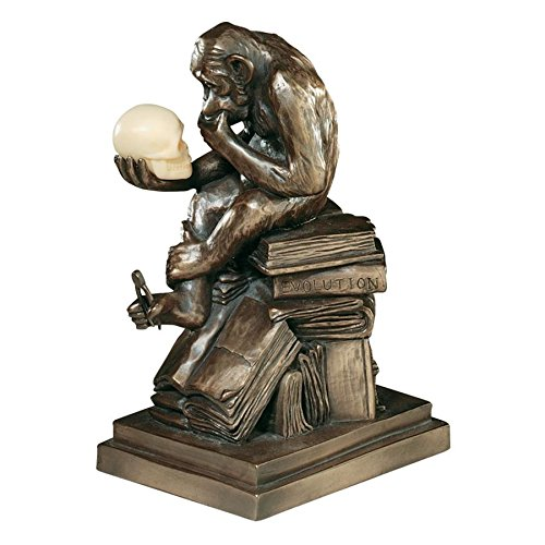 Design Toscano Charles Darwin's Ape Human Evolution Figurine Animal Statue, 8 Inch, Polyresin, Bronze Finish
