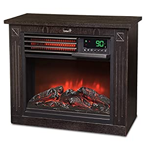 Ivation 5,100 BTU Infrared Quartz Fireplace – 1500W Electric Heater with Realistic Flame, Digital Thermostat, Remote Control, Timer & Safety Shutoff
