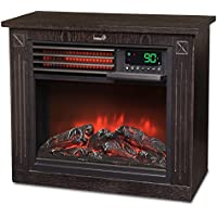 Ivation 5,100 BTU Infrared Quartz Fireplace - 1500W Electric Heater with Realistic Flame, Digital Thermostat, Remote Control, Timer & Safety Shutoff, Dard Wood