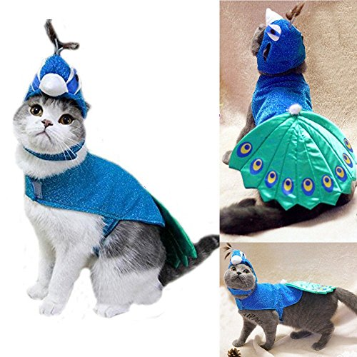 [Meiying Pet Peacock Costume with Hat for Small Dogs & Cats Blue] (Dog Burger Costume)