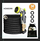 HOMEERR 50ft Garden Hose Expandable Leak-proof Water Hose with Double Latex Core, 3/4'' Solid Brass Fittings, Extra Strength Fabric with Metal 8 Function Spray Nozzle for Garden Watering Car Washing