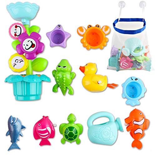 deAO Kids Bathtime Fun Flower Sprinkler Toy with Watering Can, Waterwheel and Colored Stacking Cups; Wind-Up Animal Bath Toys and Mesh Bath Toy Storage Bag (Toy Watering Can)