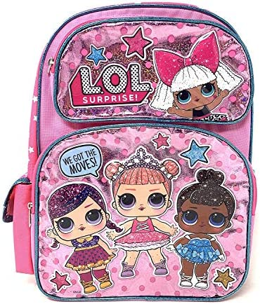 """Large LOL 16\"""" WE GOT THE MOVES! Pink Shiny Girls' School Backpack A16305"""