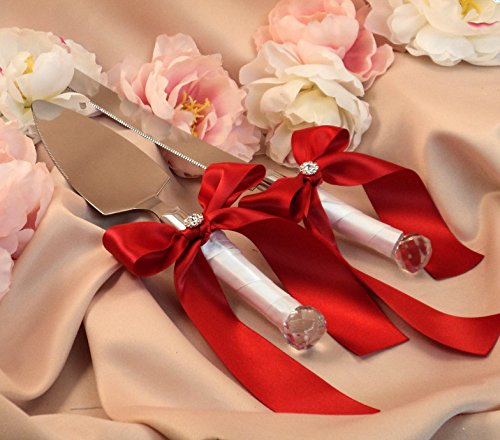 Zehui High-grade Romantic Cake knife shovels Ribbon Bowknot for Wedding and Party White+Dark red