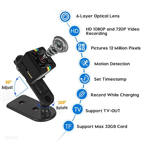 Mini Spy Camera Hidden Camera, Small Camera HD 1080P Cop Cam 140 Wide Angle Security Camera with Night Vision Nanny Cam, 360 Adjustable Bracket Car Mini Camera for Motion Detection TV Out