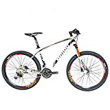 Cheap BEIOU Carbon Fiber Mountain Bike Hardtail MTB SHIMANO M610 DEORE 30 Speed Ultralight 10.65 kg RT 26 Professional Internal Cable Routing Toray T800 Glossy CB018 (White Silver, 15″)
