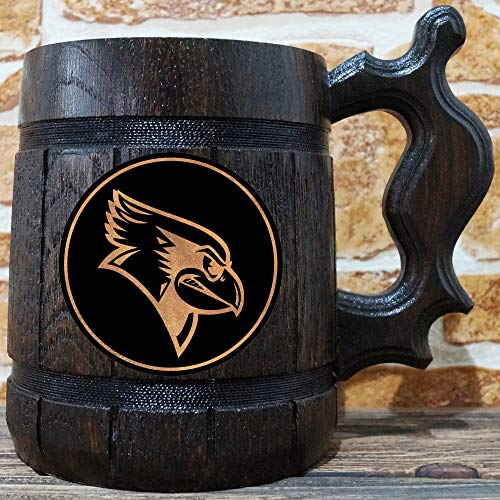 Illinois State Redbirds Beer Mug, Basketball Wooden Beer Stein, Sport Gift, Personalized Beer Stein, Illinois State Redbirds Tankard, Custom Gift for Men, Gift for Him