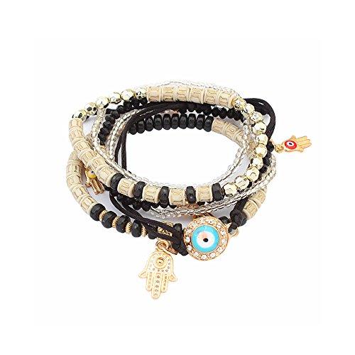 LUREME Bohemian Beads Multi Strand Hamsa Hand Evil Eye Charms Stretch Bracelet Set-Black (bl003164-2)