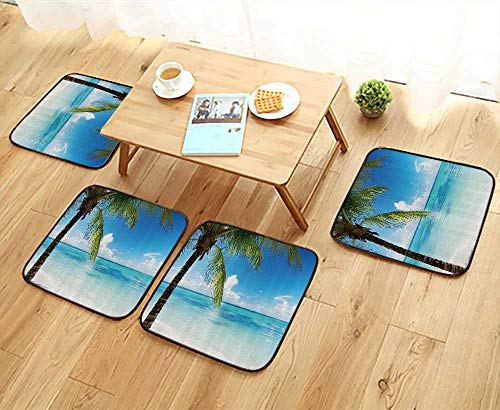 (Printsonne Elastic Cushions Chairs Exotic ACH Clear Water and Palm Tree by The Shore with Bright Sky Landscape for Living Rooms W29.5 x L29.5/4PCS Set)