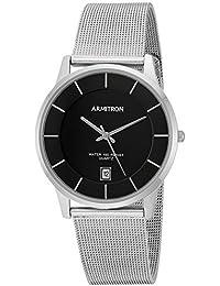 Men's 20/5123BKSV Date Calendar Dial Silver-Tone Mesh Bracelet Watch