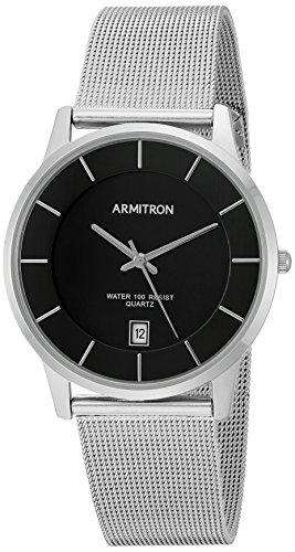 Armitron Men's Date Calendar Dial Silver-Tone Mesh Bracelet Watch