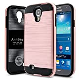 S4 Case,Galaxy S4 I9500 Case,AnnBay for Samsung Galaxy S4 2in1 Series Heavy Duty armor Hard Cover Case Hybrid Soft Silicone TPU Case(Steel Rose Gold Pink)
