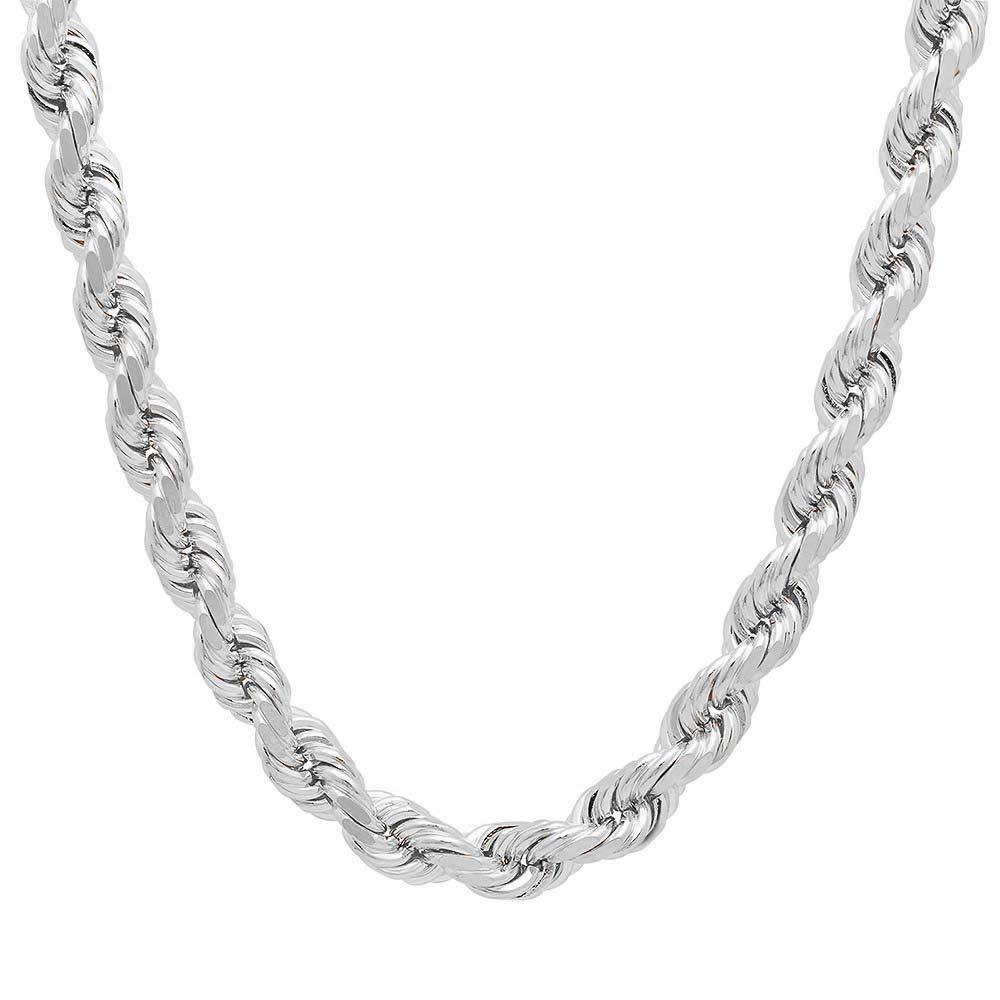 Mens Italian 925 Sterling Silver Damond Cut Rope Chain Necklace, 5MM, 6MM, 7.5MM,8.5MM- Mens Rope Chain, Sterling Silver Rope Chain Necklace For Men, Mens Rope Chain Bracelet by Verona Jewelers (Image #1)
