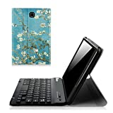Fintie Samsung Galaxy Tab E 8.0 Keyboard Case - Slim Light Weight Standing Smart Cover with Magnetically Detachable Wireless Bluetooth Keyboard for Tab E 8.0 Inch SM-T377 4G LTE Tablet, Blossom