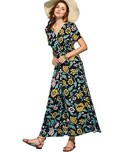 Milumia Women's Button Up Split Floral Print Flowy Party Maxi Dress Multicolor-Black-2 ()