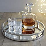 Le'raze Mirrored Vanity Tray, Decorative Round Tray with Chrome Rails for Display, Perfume, Vanity and Bathroom, Elegant Mirror Tray Makes A Great Bling Gift –13 Inch