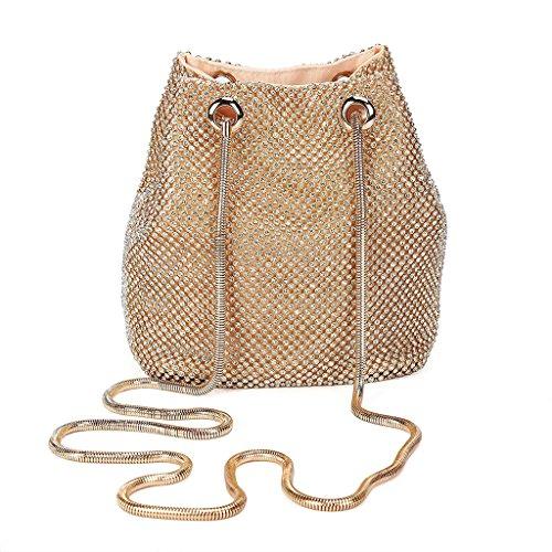 Handbag Clutch Prom Rhinestone Bridal Gold LoXTong Wedding Women's Shoulder Party Evening Bag xwqOvF