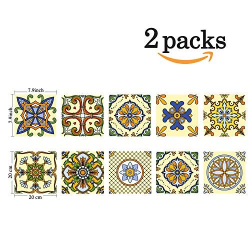 (Poromoro Spanish Portuguese Azulejo Style Peel and Stick Tile Stickers Set of 20 pcs (7.9x7.9, I))