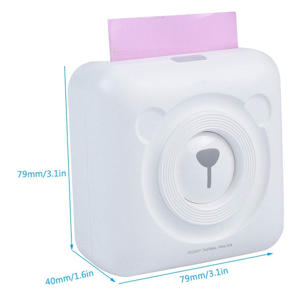 Garsent Thermal Receipt Printer White iOS Android. 57mm Mini Wireless Bluetooth 4.0 Thermal Photo//Receipt Printer Pocket Thermal Printer for Windows