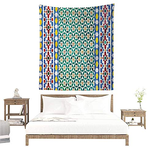 alisoso Fabric Wall hangings,Moroccan Decor,Colorful Moroccan Mosaic Wall Mideast Style Craftsmanship Vertical Details W51 x L60 inch Bedspread Bedroom Living Kids ()