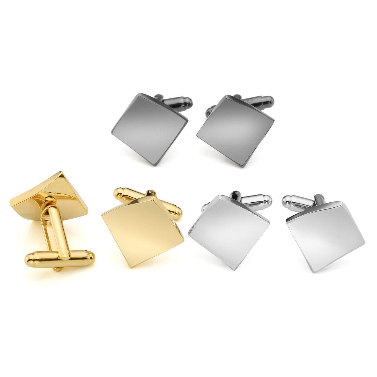 Zysta Irregular Curved Twisted Square Mirror Finish Cufflinks Set Silver Gold Black Bullet Back Secure Closure Button Luxury Elegant Tuxedo Shirts Wedding Busniness Dress