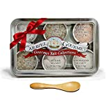 Gourmet Natural Sea Salt - Gift Tin with Bamboo Spoon - Cyprus Flake,French Grey,Himalayan Pink,Portuguese,Sicilian&New Zealand (6 flavors per tin) (1/2 oz each)