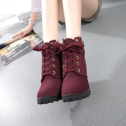 Womens Fashion High Heel Lace Up Ankle Boots Fcostume Ladies Buckle Platform Shoes (37, Black) Red